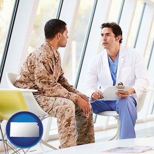 a doctor counseling a soldier at a mental health clinic - with Kansas icon