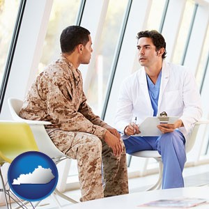 a doctor counseling a soldier at a mental health clinic - with Kentucky icon