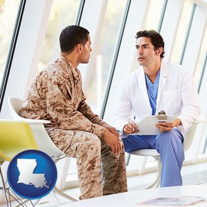 a doctor counseling a soldier at a mental health clinic - with Louisiana icon