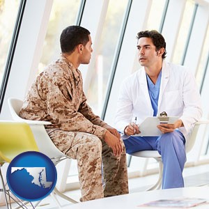 a doctor counseling a soldier at a mental health clinic - with Maryland icon