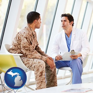 a doctor counseling a soldier at a mental health clinic - with Michigan icon