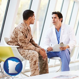a doctor counseling a soldier at a mental health clinic - with Minnesota icon