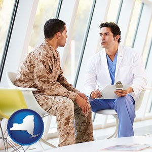 a doctor counseling a soldier at a mental health clinic - with New York icon