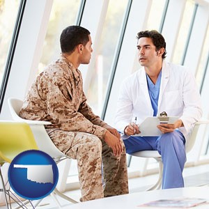 a doctor counseling a soldier at a mental health clinic - with Oklahoma icon