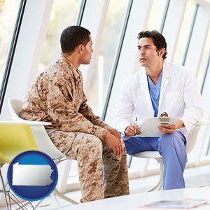 a doctor counseling a soldier at a mental health clinic - with Pennsylvania icon