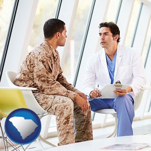 a doctor counseling a soldier at a mental health clinic - with South Carolina icon