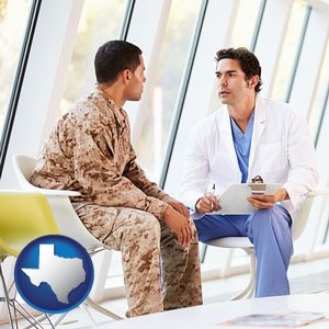 a doctor counseling a soldier at a mental health clinic - with Texas icon