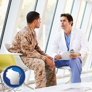 a doctor counseling a soldier at a mental health clinic - with Wisconsin icon