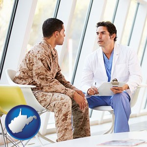 a doctor counseling a soldier at a mental health clinic - with West Virginia icon